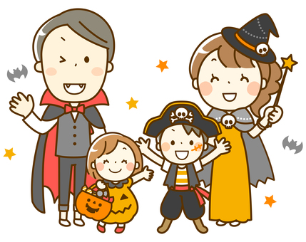 Family enjoying Halloween