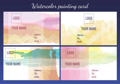 Watercolor business card material
