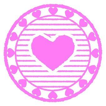 Antique Stamp Heart Pink 1