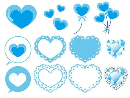 Various heart materials · light blue