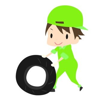 Worker 2 rolling the tire 2