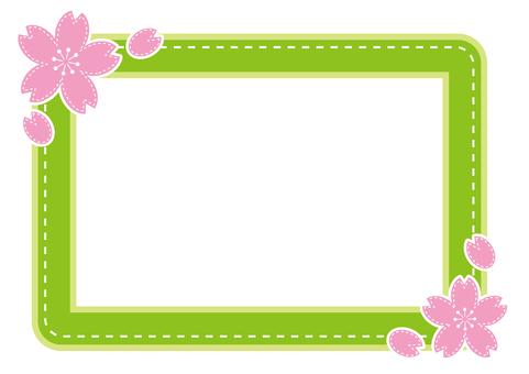 Pass case - cherry stitch - green