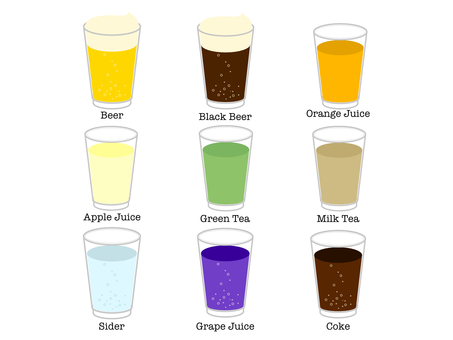 Illustration set of drinks in a glass
