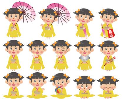 Kimono female illustration set (twin tail)