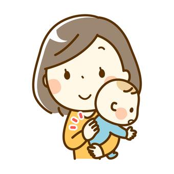 Baby and mum burping