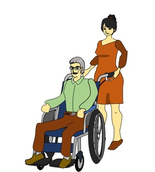 Women who assist with wheelchair men