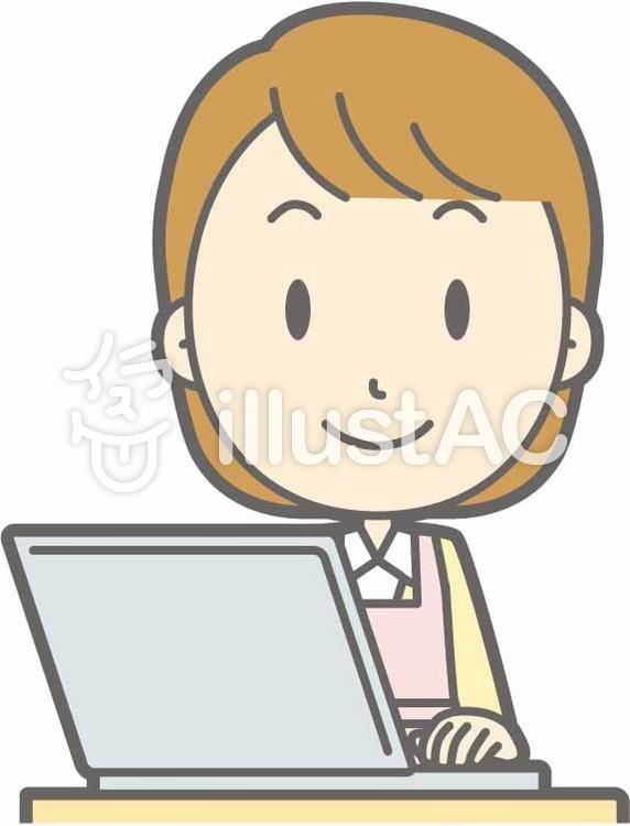 エプロン主婦-PC笑顔-バストのイラスト