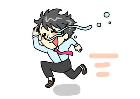 Running office worker