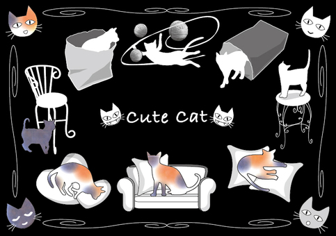 Collection of cute illustrations of cats Black background