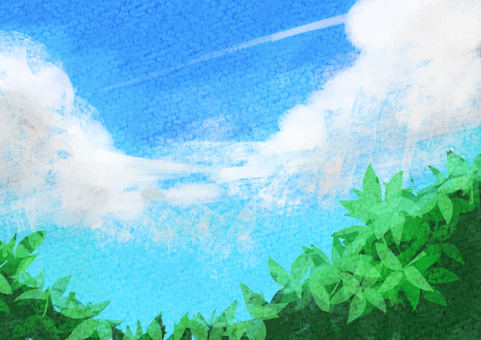 水彩 空 緑