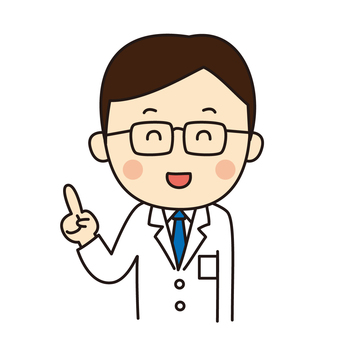 Male doctor guiding with finger pointing