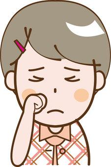 Girl short-sleeved sad