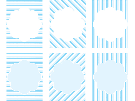 하늘색 줄무늬 프레임 세트