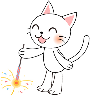 White cat playing fireworks
