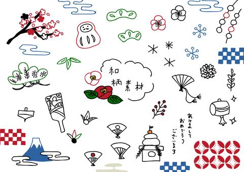 일본식 디자인 소재 037B 설 일러스트 세트