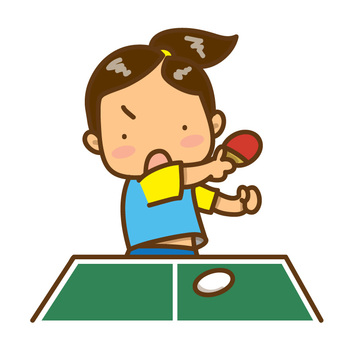 Girl deciding smash (with table tennis table)