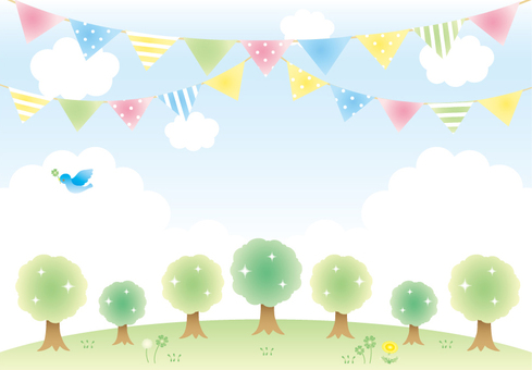 Trees and flag background