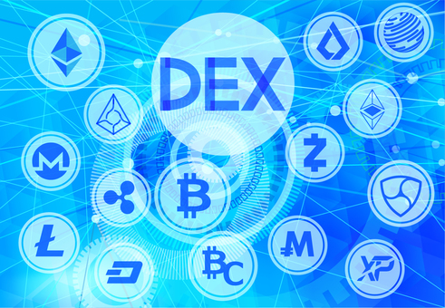 Virtual currency and DEX Distributed Exchange Digital Background