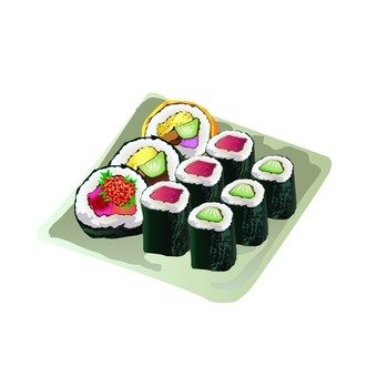 Rolled sushi (Egg rolled sushi)