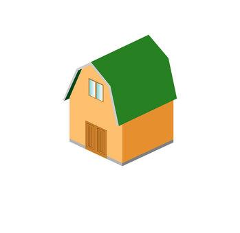 綠色的屋頂穀倉