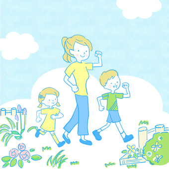 Parents and children walking