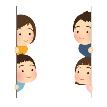 Illustration of a family peeking through the wall