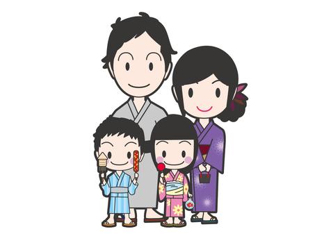 A family in a yukata appearance