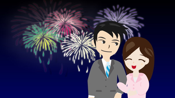 Fireworks dating couple
