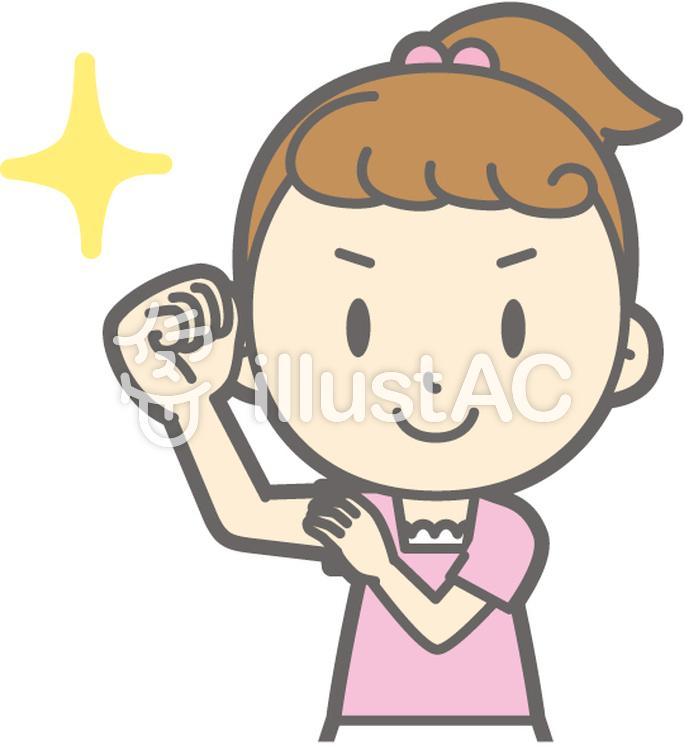 女の子半袖a-腕まくり-バストのイラスト