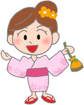 Illustration of a girl in a yukata