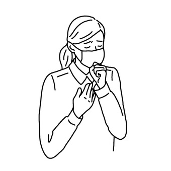 A woman coughing with a cold