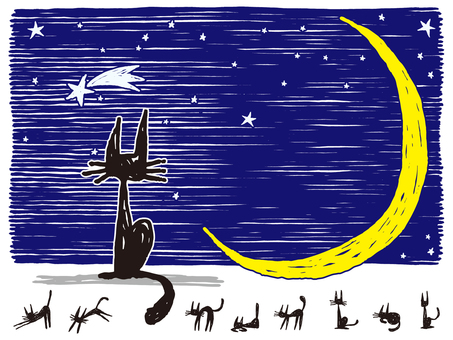 Crescent moon and black cat