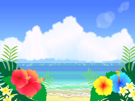 Summer landscape illustration sea and hibiscus