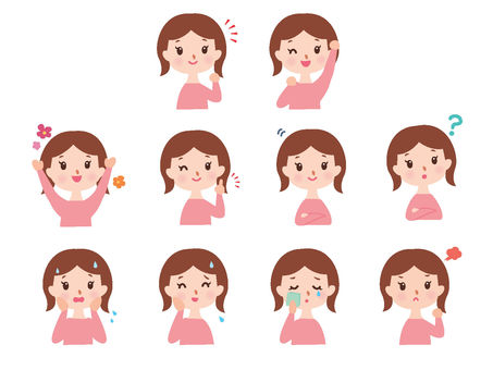 Women's Bust Up Emotions and Sound Set