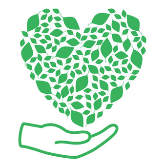 Heart and hands reminiscent of ecology