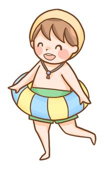 수영복 차림의 소년
