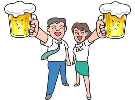 Toast in beer garden-2 men and women