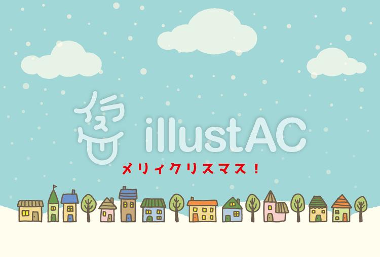 雪と街並みのクリスマスカードイラスト No 1292834無料イラストなら