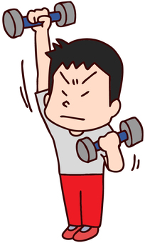 Illustration of a male dumbbell exercise
