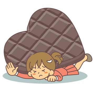 一個女人被瓦倫丁的巧克力壓碎了