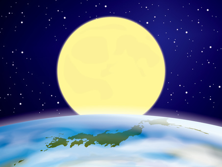 Image of full moon, earth and Japan map