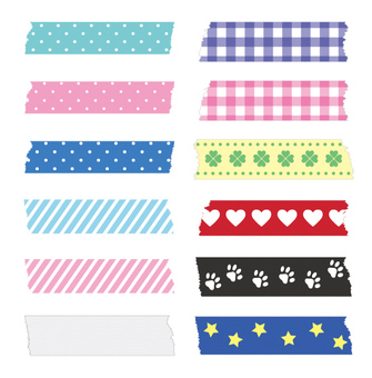 Set of patterned tapes