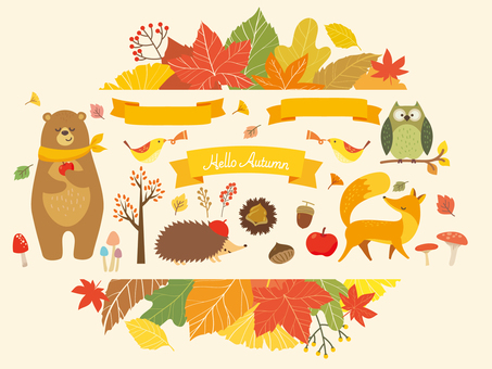 Autumn leaves frame and animals illustration