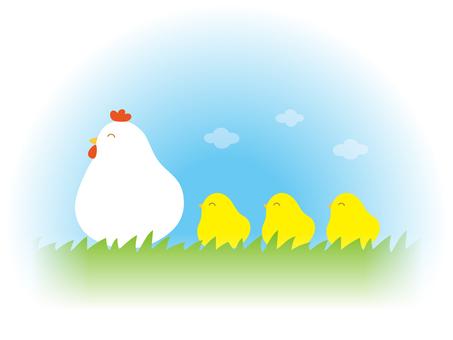 닭 부모와 자식의 산책