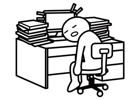 [표제] 막대기 인간 - 어수선한 책상