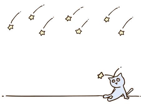 Handwritten cute little shooting star and cat frame